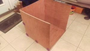 printer box after installation of back bottom corner and side edge pieces
